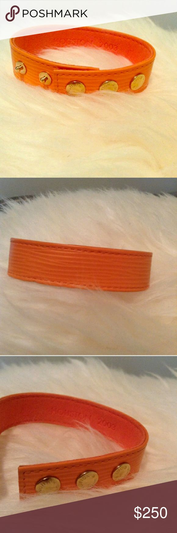 AUTHENTIC Louis Vuitton VIP epi leather bracelet AUTHENTIC rate epi VIP bracelet  these were only given to VIP costumers this one is the Houston TX mandarin orange epi with gold snaps .....feel free to ask anything thanks for looking and happy poshing Louis Vuitton Jewelry Bracelets