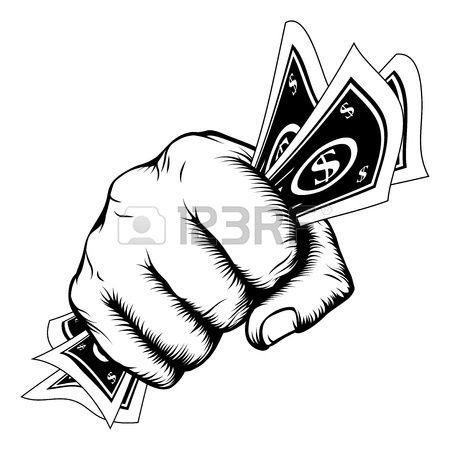 Hand in een vuist met contant geld dollarbiljetten illustratie in houtsnede retro stijl. Stockfoto