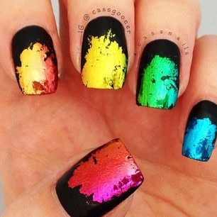 These abstract foil nails by @Cassandra Guild Ranson