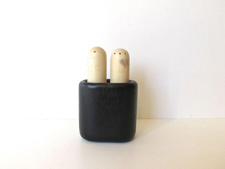 Dansk Modern Salt And Pepper Shaker, Black And White Wooden Shakers by HerVintageCrush on Etsy https://www.etsy.com/listing/262432000/dansk-modern-salt-and-pepper-shaker