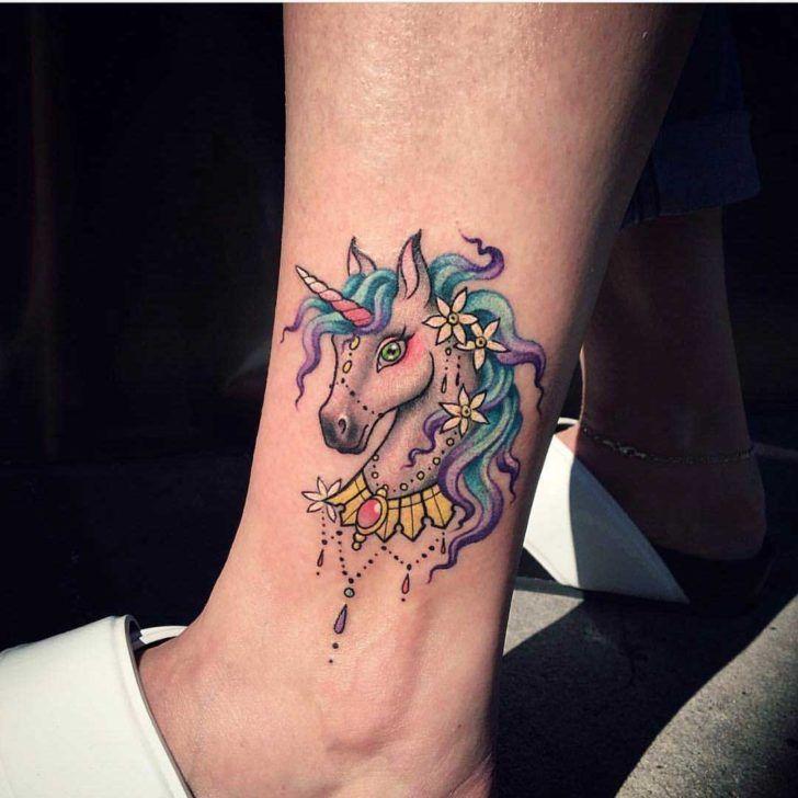 ankle unicorn tattoo