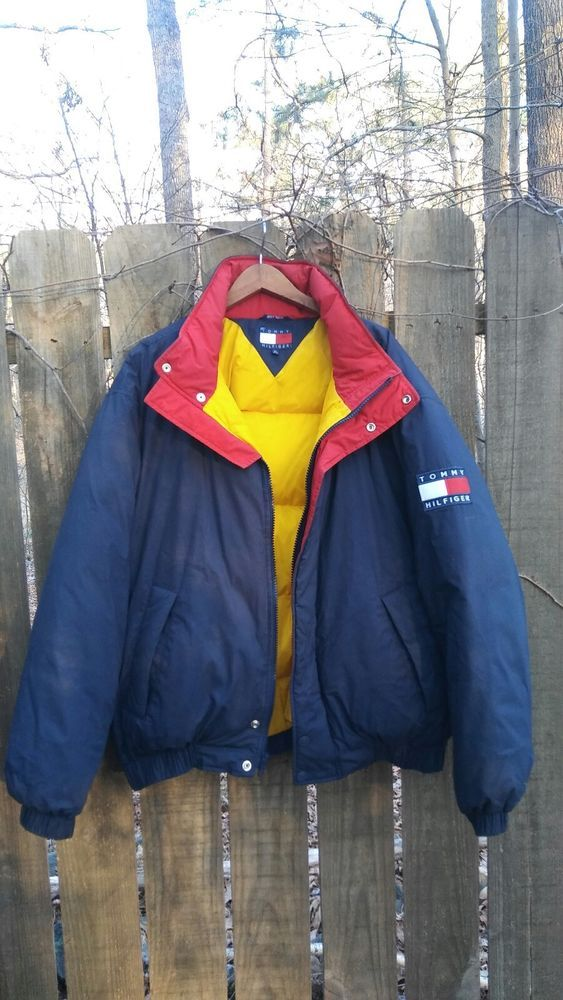 Vtg Tommy Hilfiger Navy Red Down Jacket Flag Spell Out Size XL Vintage #TommyHilfiger #Puffer