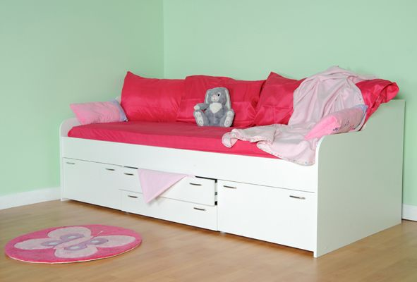 HALSTEAD SOFA CABIN BED ALL WHITE OR WITH PINK M2440