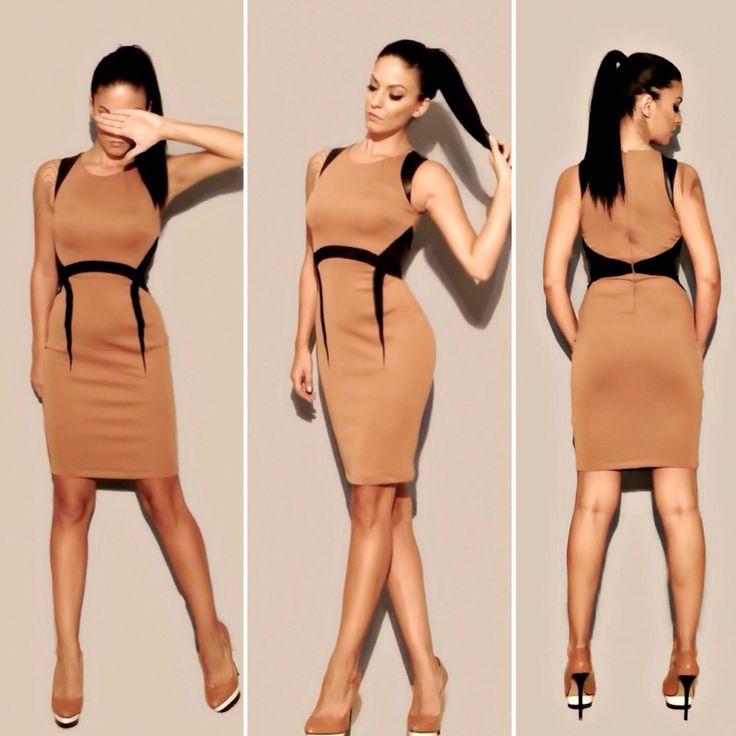 Dress in camel color. #fashion#style#dress#women#pink#design#online#women#clothes#boutique#