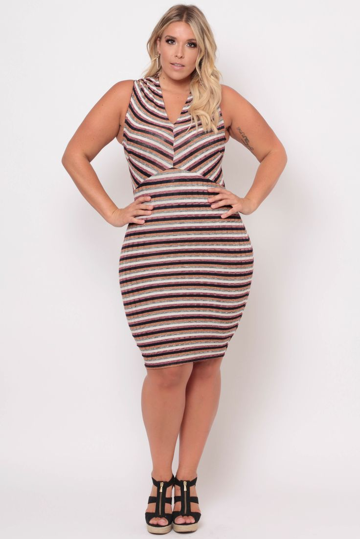 Plus Size Multi-Stripe Bodycon Dress - Burgundy