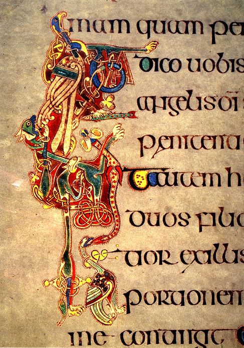 Books of Kells illumination- font digitized as P22 Kells Round #StPatricksDay #StPatricksDay2015
