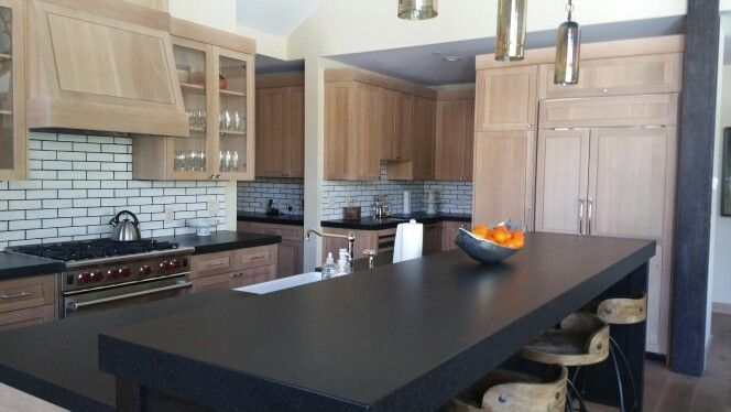 White stained oak cabinets