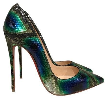 c64eaffdfb55 Christian Louboutin Green So Kate 120 Blue Python Snake Heel 38 Pumps Size  US 8 Regular