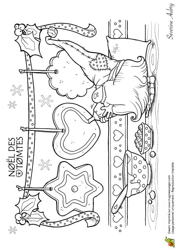 Coloriage les tomtes lutins suedois biscuits sur Hugolescargot.com - Hugolescargot.com