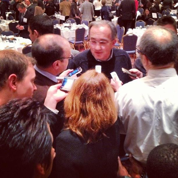 Media rush to interview @Chrysler CEO Sergio Marchionne at @inforumMI Anual Auto Show Breakfast #NAIAS.
