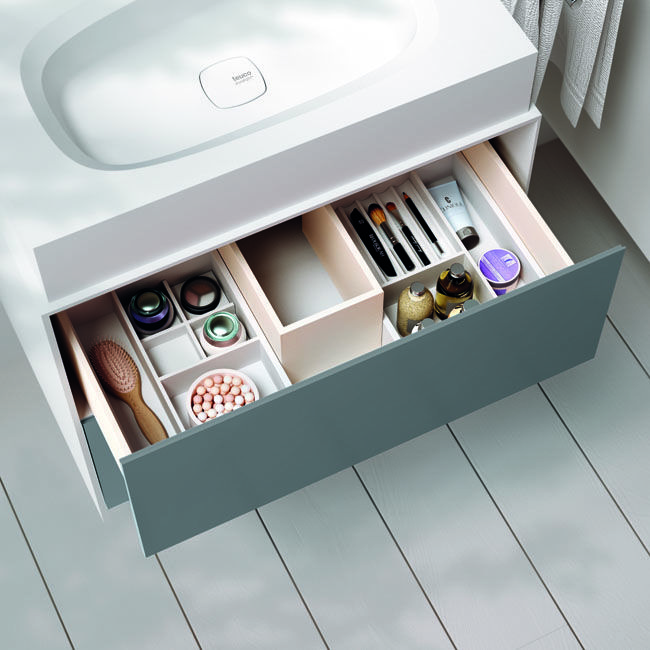 A lot of space inside the #Teuco #Insideout drawer below the #washbasin. Very useful the boxes inside