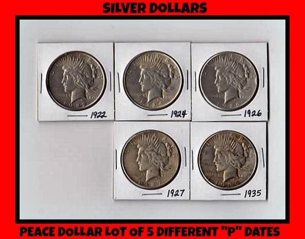 "Peace Dollar lot of 5 Diff ""P"" dates - 90% Silver - Circulated cond 27-P & 35-P"