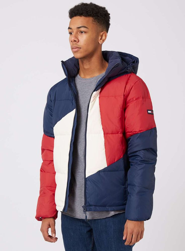 TOMMY HILFIGER Padded Colour Block Jacket - Men's Coats & Jackets - Clothing - TOPMAN