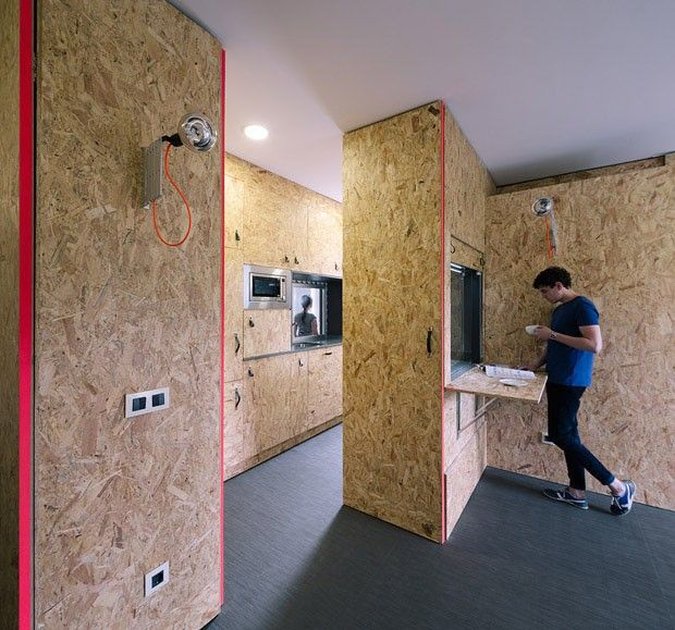 Espanhóis criam solução baseada em pop-up, a partir de painéis leves de OSB (Oriented Strand Board)