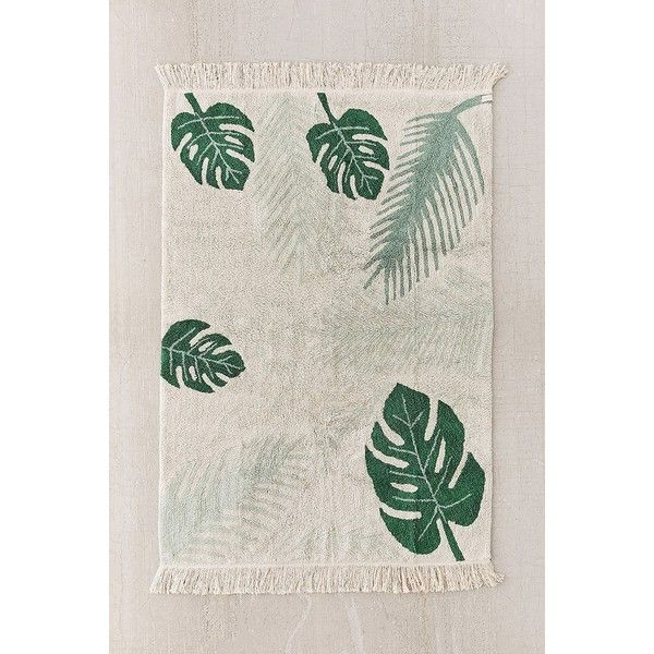 Tropical Greens Washable Rug ($189) ❤ liked on Polyvore featuring home, rugs, machine washable cotton rugs, machine washable area rugs, green area rugs, machine washable rugs and tropical area rugs