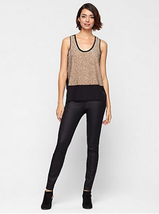 EILEEN FISHER GOLD AND BLACK SEQUIN SILK TANK