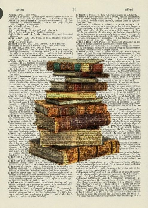 Books printed on dictionary page