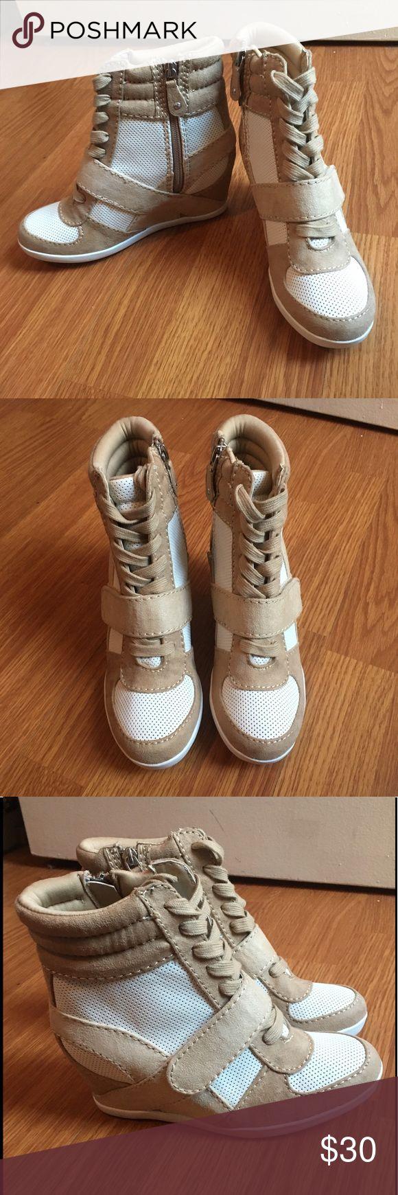 Wedge Sneaker Tan and white wedge sneaker. Never worn! Simply Vera Vera Wang Shoes Wedges