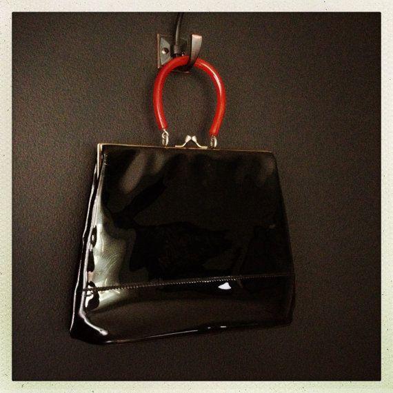 Vintage Black Patent Leather Purse - Bakelite Handle - Star Lining
