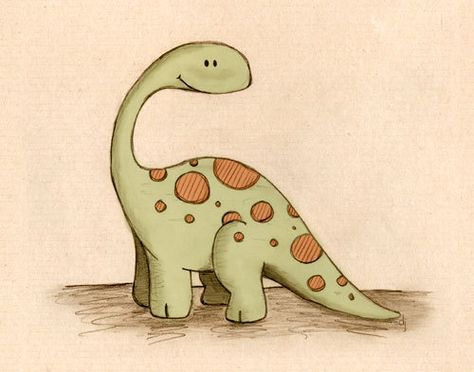 Long Neck Dinosaur 8x10 by paperlionart on Etsy