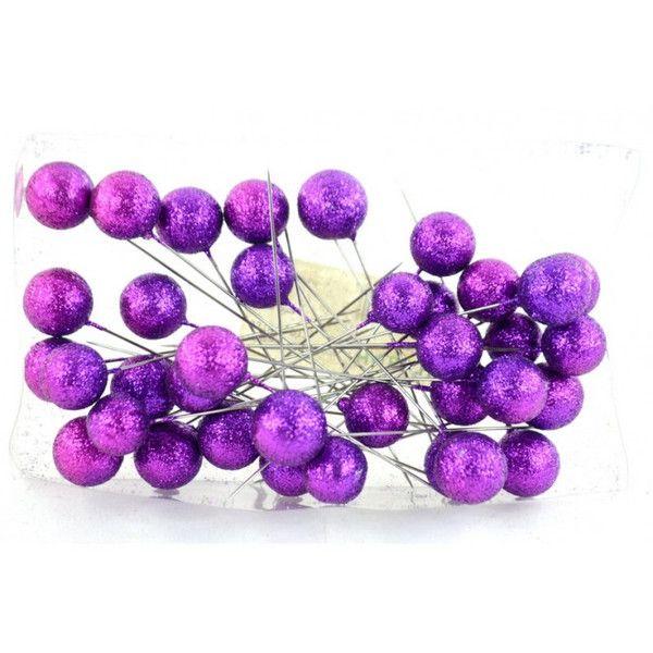 Varie - Spilli con Perlina Glitter Viola pz 36 - un prodotto unico di raffasupplies su DaWanda
