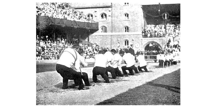 In the 1912 Stockholm Games, tug-of-war was an Olympic sport. This is a picture of a match between Sweden and Great Britain.