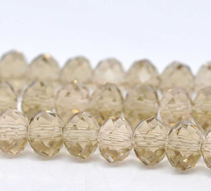 Champagne Crystal Beads - 8mm x 6mm, approx 72pc strand