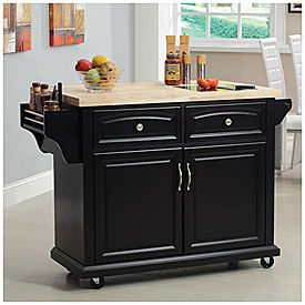 Curved Door Kitchen Cart With Granite Insert at Big Lots.