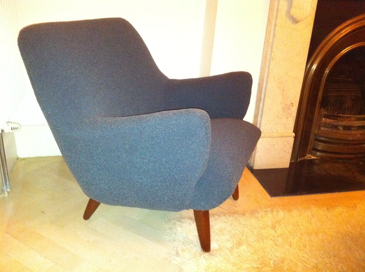My fab 50s chair recovered in wonderful Bute wool fabric