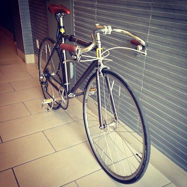 """Last bike project. Installed old school Lauterwasser handlebars on the Globe. #globebikes #roll8 #lauterwasser"""