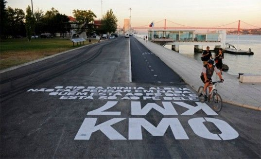 Awesome Typographic Directions Tell Bikers Where to Cycle in Lisbon