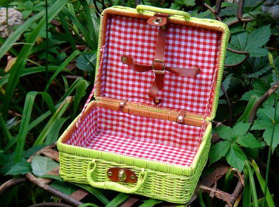 Lined Picnic Basket Vintage Child's Picnic by CasaKarmaDecor, $32.00