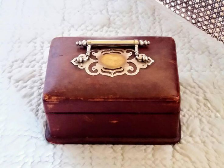 Antique Leather jewelry box lined in  satin . by SecondLifeJewelryInc on Etsy