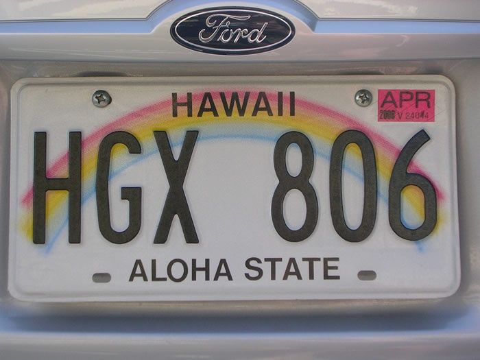 Hawaii number plate