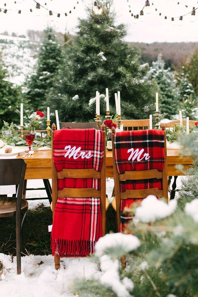 30 Charming Winter Wedding Decorations ❤️ winter wedding decorations a wedding table on the street decorated with white candles of golden candlesticks and chairmasters with a red checkered scarf utah event wedding planner via instagram ❤️ See more: http://www.weddingforward.com/winter-wedding-decorations/ #weddingforward #wedding #bride #bridaldecorations #charmingwinterweddingdecorations