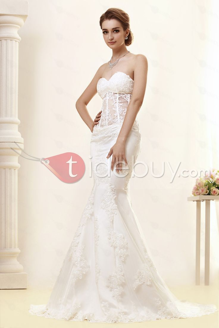 Gorgeous Strapless Sweetheart Lace Trumpet/Mermaid Angerlika's Wedding Dress