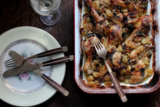 sweet roasted grape chicken with sage and white wine