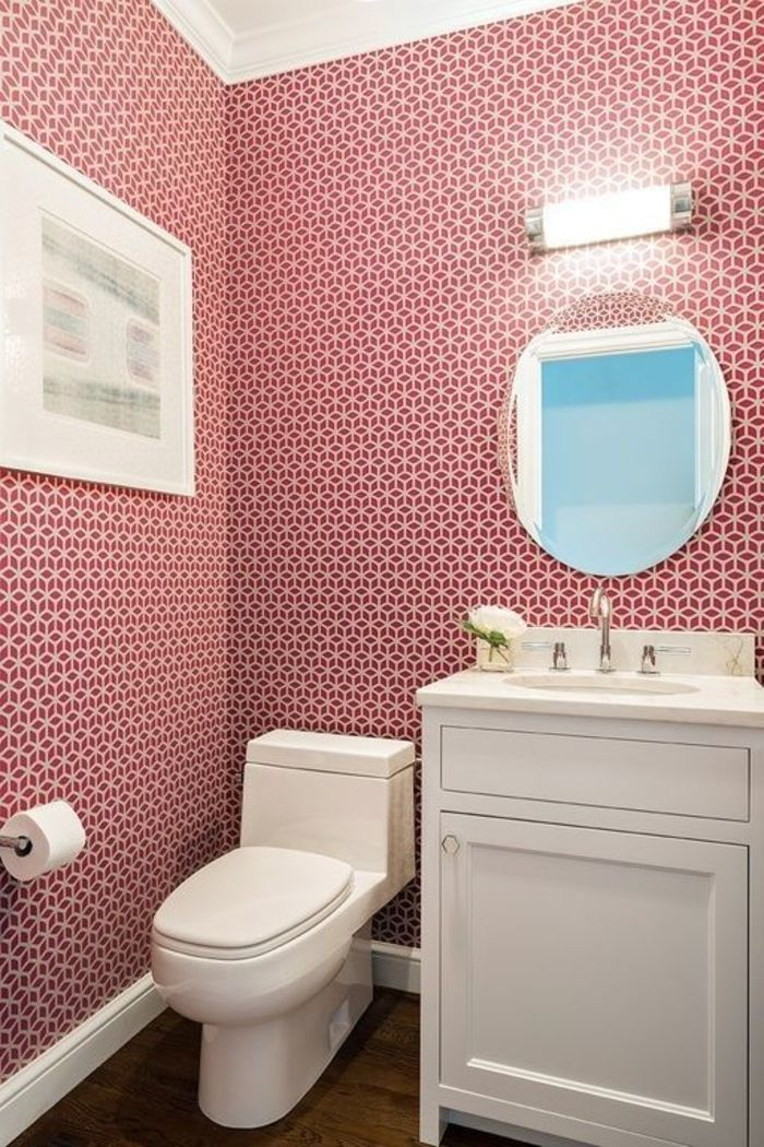 View this Great Contemporary Powder Room with interior wallpaper   Flat  panel cabinets by Claire Paquin  Discover   browse thousands of other home  design. 17 Best images about wallpaper ideas for house on Pinterest