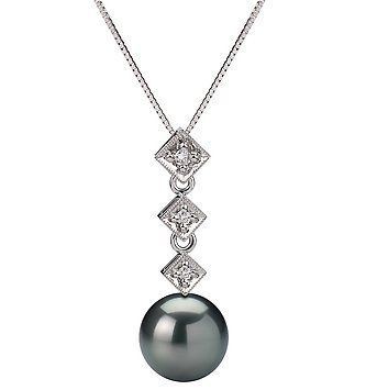 PearlsOnly Rozene Black 8.5-9.0mm AAA Tahitian 14K white gold Cultured Pearl Pendant with 14k White Gold Chain PearlsOnly. $369.00