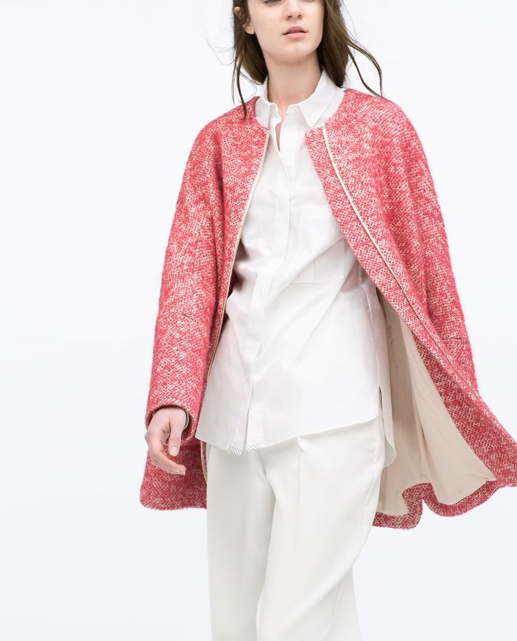Zara Woman Boucle Coat Outerwear Women Boucle Coat Coat