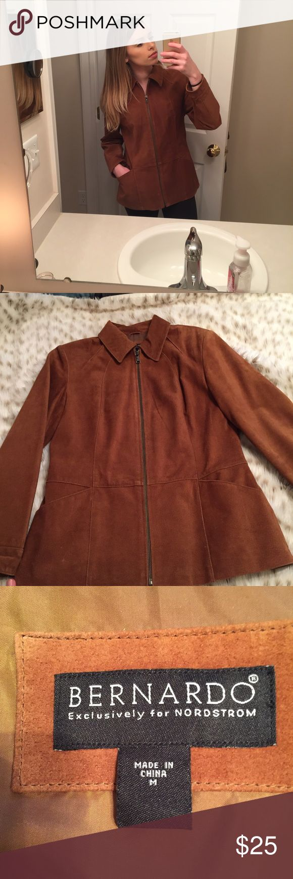 Bernardo Nordstrom Leather Suede Jacket Bernardo for Nordstrom size medium leather jacket! So cute! Used but in very good condition. Full zip. Has 2 pockets in front! Beautiful camel brown color! Make an offer!! Bernardo Jackets & Coats