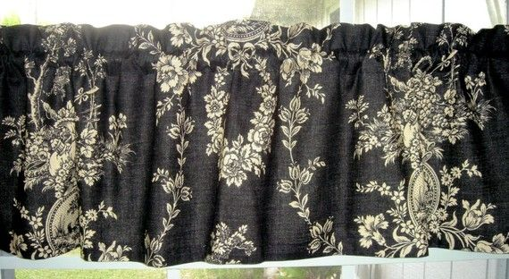 Valance Waverly Black and Beige Waverly Toile Country