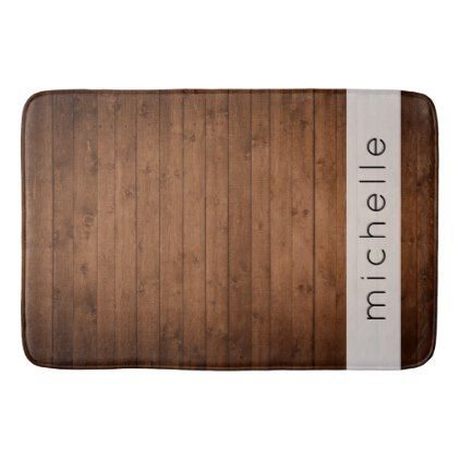Your Name - Barn Wall Old Wooden Barks - Brown Bath Mat - oak gifts tree leaves style nature gift idea cyo