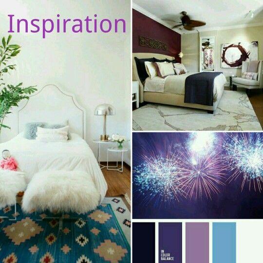 Chambre coucher inspiration blanc mauve prune bleu for Chambre a coucher mauve