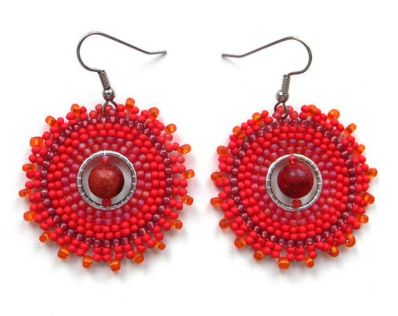 Red Hoop Seed Bead Earrings with coral - Circular earrings, summer jewelry, bohemian style, ethnic