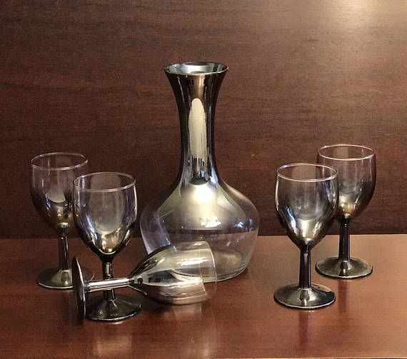 Mid Century Modern Decanter and Glass Set Mercury fade style