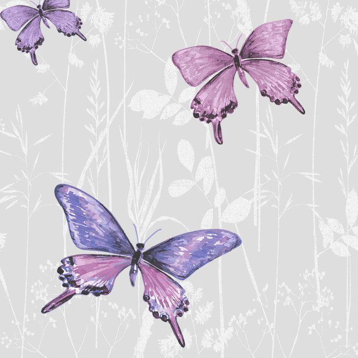 Colours Flutter Pink & Purple Butterfly Glitter Effect Wallpaper | Departments | DIY at B&Q