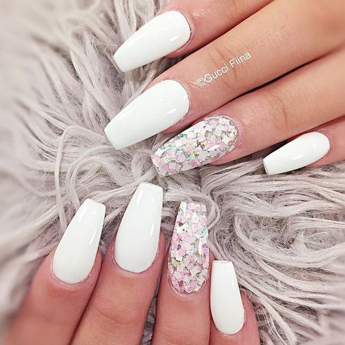 Pretty white coffin nails with glitter nail art accent - 459 Best Nails. Images On Pinterest Cute Nails, Gel Nails And Nail