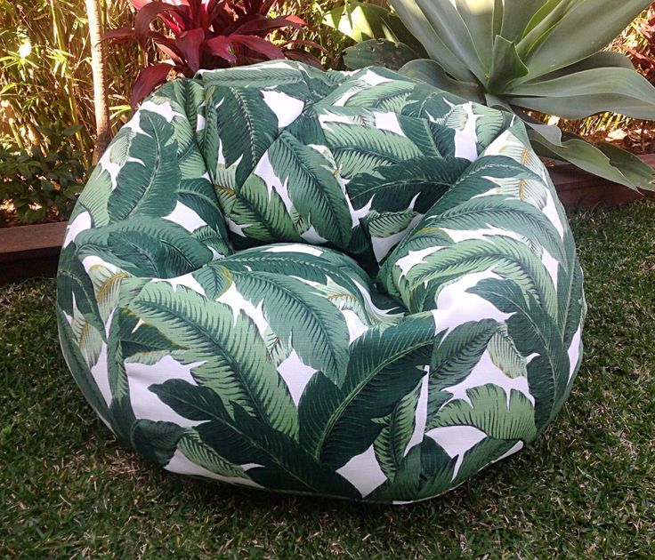 Outdoor Bean Bag Palm Leaf Adults Bean Bag, Kids Bean Bag, Tropical Indoor Outdoor Bean Bag, Poolside On the Deck, On the Grass by MyBeachsideStyle on Etsy https://www.etsy.com/listing/248110308/outdoor-bean-bag-palm-leaf-adults-bean