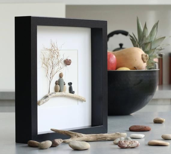 Pebble art picture, Pebble art family of three and dog, Unique Mothers Day gift, Single parent, Grandparent gift, Fathers Day gift